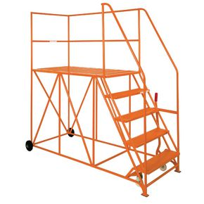 Single ended steel mobile access platforms - Orange - Choice of eight heights