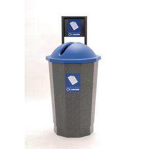 Colour coded recycling bins, blue paper bank
