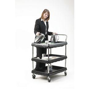 Deep ledge trolleys - standard -  3 tier - Black