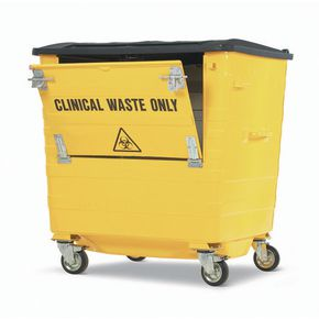 Galvanised clinical waste wheelie bins
