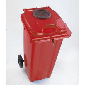Two wheeled bins with special apertures - 2 wheeled bins with bottle bank aperture and standard lid lock