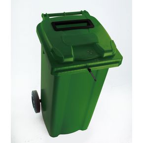 Two wheeled bins with special apertures - Confidential waste 2 wheeled bins with slot and standard lid lock