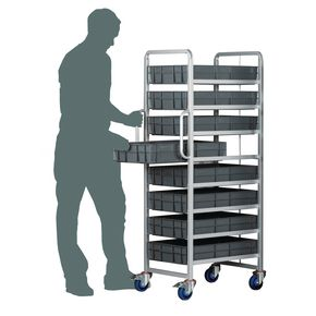 Euro container trolleys with 8 x 120mm tallcontainers - with brakes
