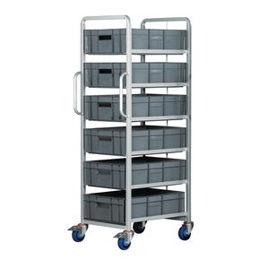 Euro container trolleys with 6 x 170mm tall containers - with brakes