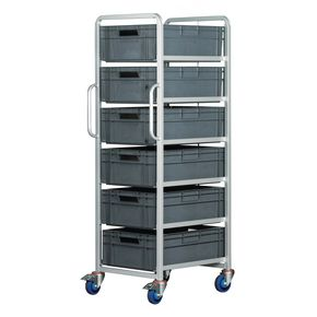 Euro container trolleys with 6  x 200mm tall containers - with brakes