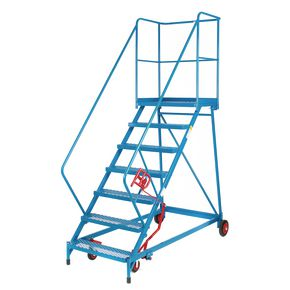 Shallow slope extra wide tread mobile steps