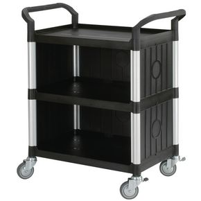 Three tier plastic utility tray trolleys with open sides and ends with 3 standard black shelves, back & side panels