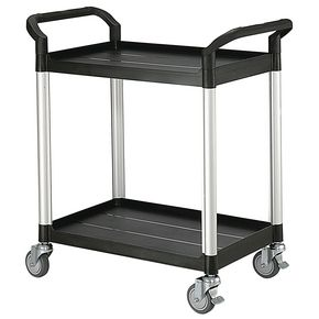 Two tier plastic utility tray trolleys with open sides and ends with 2 standard size shelves