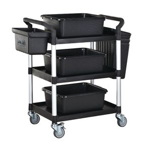 Three tier plastic utility tray trolley with accessories