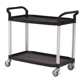 Two tier plastic utility tray trolleys with open sides and ends with 2 large size shelves