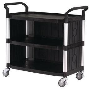 Three tier plastic utility tray trolleys with open sides and ends with 3 large black shelves, back & side panels