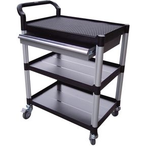 Plastic shelf tray trolleys with drawers - with 3 shelves and 1 drawer
