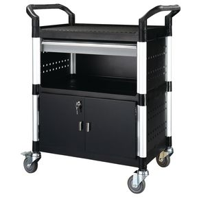 Plastic shelf tray trolleys with drawers - with 3 shelves, 1 drawer, sides and back panels