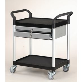 Plastic shelf tray trolleys with drawers - with 2 shelves and 2 drawers
