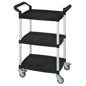 Three tier plastic utility tray trolleys with open sides and ends