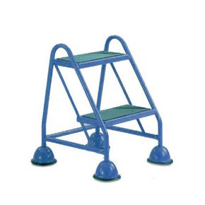 Cup step with slip resistant treads no handrail 2 tread in blue