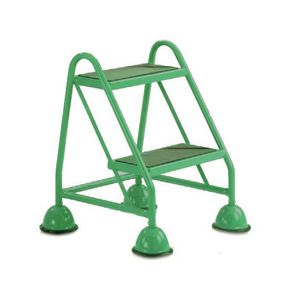 Cup step with slip resistant treads no handrail 2 tread in green