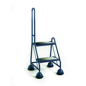 Cup step with slip resistant treads and single handrail 2 tread in blue
