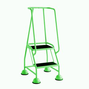 Cup step with slip resistant treads and full handrail 2 tread in green