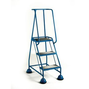 Cup step with slip resistant treads and full handrail 3 tread in blue