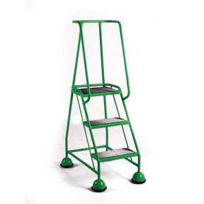 Cup step with slip resistant treads and full handrail 3 tread in green