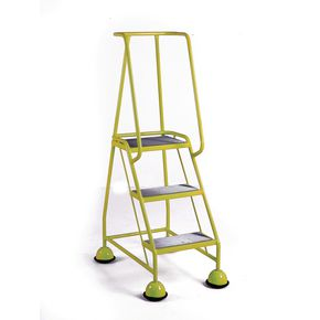 Cup step with slip resistant treads and full handrail 3 tread in yellow
