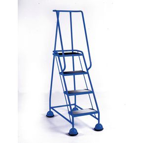 Cup step with slip resistant treads and full handrail 4 tread in blue