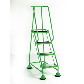 Cup step with slip resistant treads and full handrail 4 tread in green