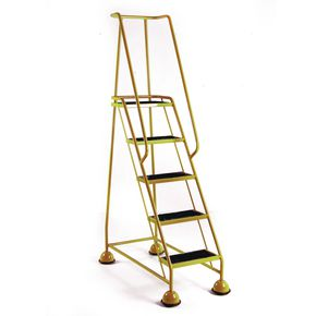 Cup step with slip resistant treads and full handrail 5 tread in yellow