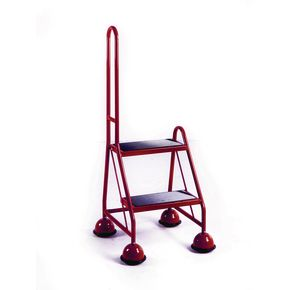 Economy cup steps - 2 tread with single handrail 2 tread in red