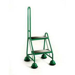 Economy cup steps - 2 tread with single handrail 2 tread in green