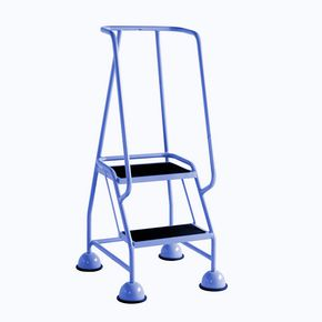 Economy cup steps with full handrail 2 tread in blue