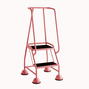Economy cup steps with full handrail 2 tread in red