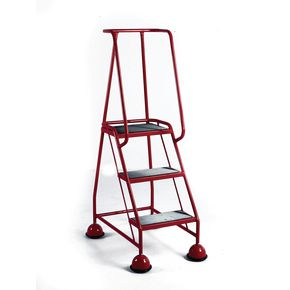 Economy cup steps with full handrail 3 tread in red