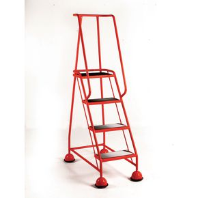 Economy cup steps with full handrail 4 tread in red