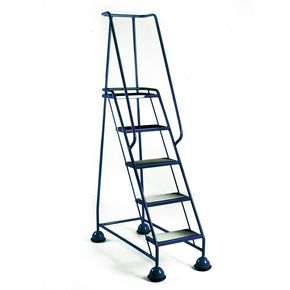 Economy cup steps with full handrail 5 tread in blue