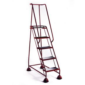 Economy cup steps with full handrail 5 tread in red