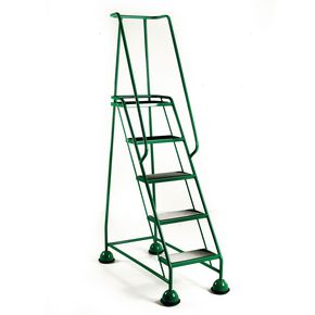 Economy cup steps with full handrail 5 tread in green