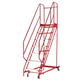 Heavy duty warehouse steps - Punched steel tread, 9 tread