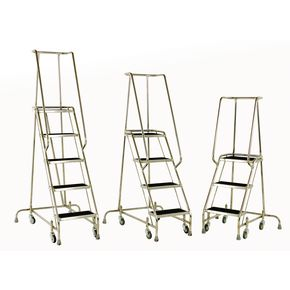 Stainless steel warehouse steps with spring-loaded castors  - Mobile steps - Choice of three heights with handrails