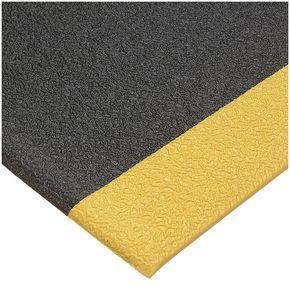 Industrial anti-fatigue foam matting, continuous 1m cut lengths - yellow edge