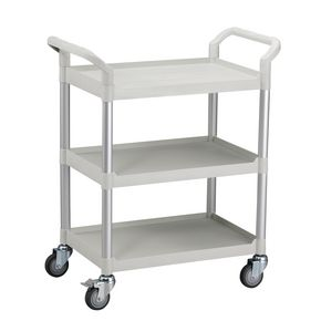 Three tier plastic utility tray trolleys with open sides and ends with 3 standard white