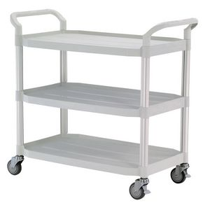 Three tier plastic utility tray trolleys with open sides and ends with 3 large white