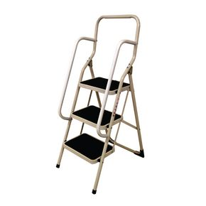 White folding step stool with handrail