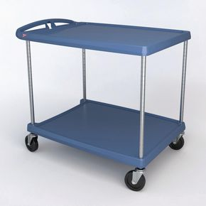 MyCart plastic service trolleys  - blue shelves with Microban® protection