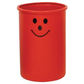 Lunar 95L open top litter bin with smiley face logo - Red