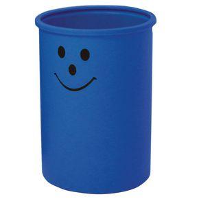 Lunar 95 litter bin with smiley face logo - Light blue