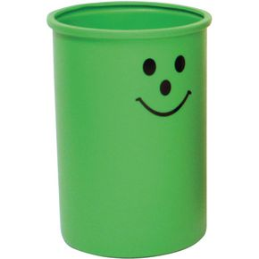 Lunar open top litter bin with smiley face logo - Green