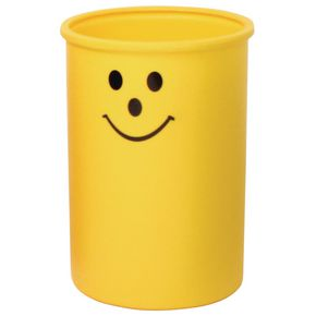 Lunar 95L open top litter bin with smiley face logo - Yellow