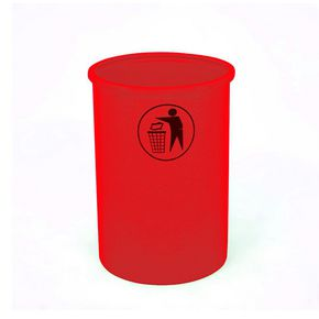 Lunar 95 litter bin with tidy man logo - Red